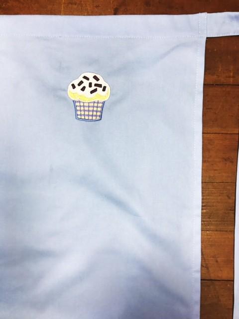 Avental Azul Bordado CUPCAKE BLUE YELOW PINK  100% Algodão