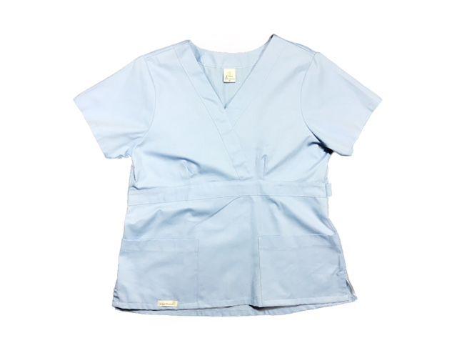 Camisa Scrub Anatomys UNISEX  AZUL  com ajuste para acinturar atrás 100% Algodão