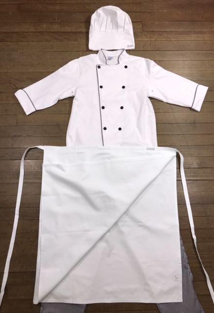 KIT: Dólmã 100% algodão branca COM OU SEM nome e logomarca (somente de universidade) bordada + avental 4 Frentes branco 100%algodão + Calça com elástico total pied poule + chapéu gourmet 100%algodão b