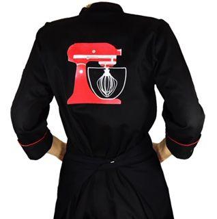 Conjunto  Dólmã Cecilia  Feminina Acinturado PRETA com VIVO VERMELHO RED BEATER + Avental PRETO RED BEATER Sarja Leve 100% algodão