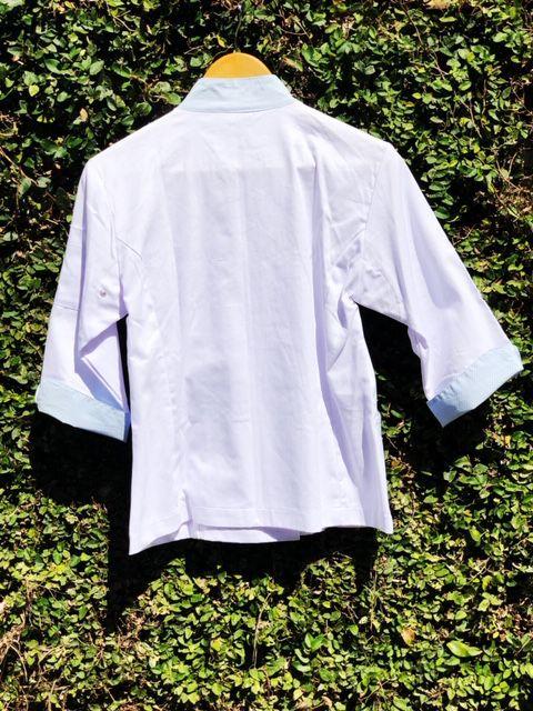 Conjunto  Dólmã Mary Feminina Acinturado BRANCA com detalhe Poá AZUL Avental AZUL e Head Band Poá AZuL Sarja Leve 100% algodão  com  botões AZUL