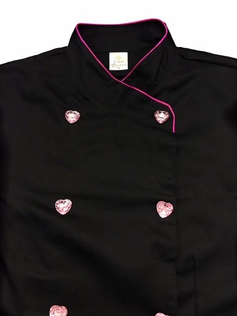 Dólmã Cecília Feminino Acinturado PRETO BRIGADEIRO PINK com vivo PINK e botões PINK HEART Sarja Leve 100% algodão