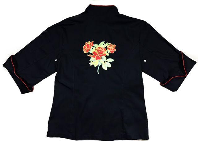 Dólmã Cecilia Feminino Acinturado PRETO RED FLOWER com vivo e botões VERMELHOS 100% Algodão manga 3/4