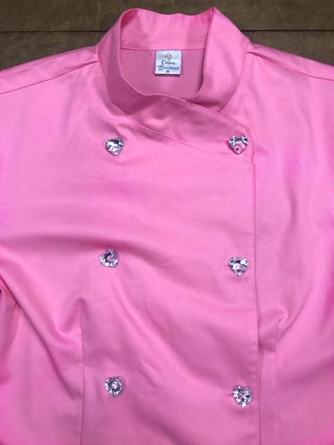 Dólmã Cecília Feminino Acinturado ROSA e botões GREY HEART Sarja Leve 100% algodão