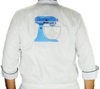 Dólmã Cecília Feminino Acinturado BLUE BEATER BRANCO com vivo e botões PRETOS Sarja Leve 100% algodão Manga 3/4