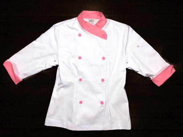 Dólmã Cecília Feminino Acinturado BRANCA com detalhe ROSA Sarja Leve 100% algodão  com  botões ROSA