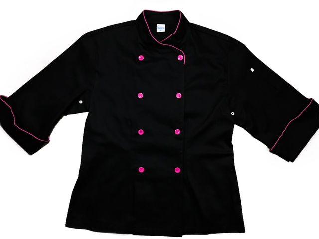 Dólmã Cecília Feminino Acinturado PRETO com vivo e botões PINK Sarja Leve 100% algodão