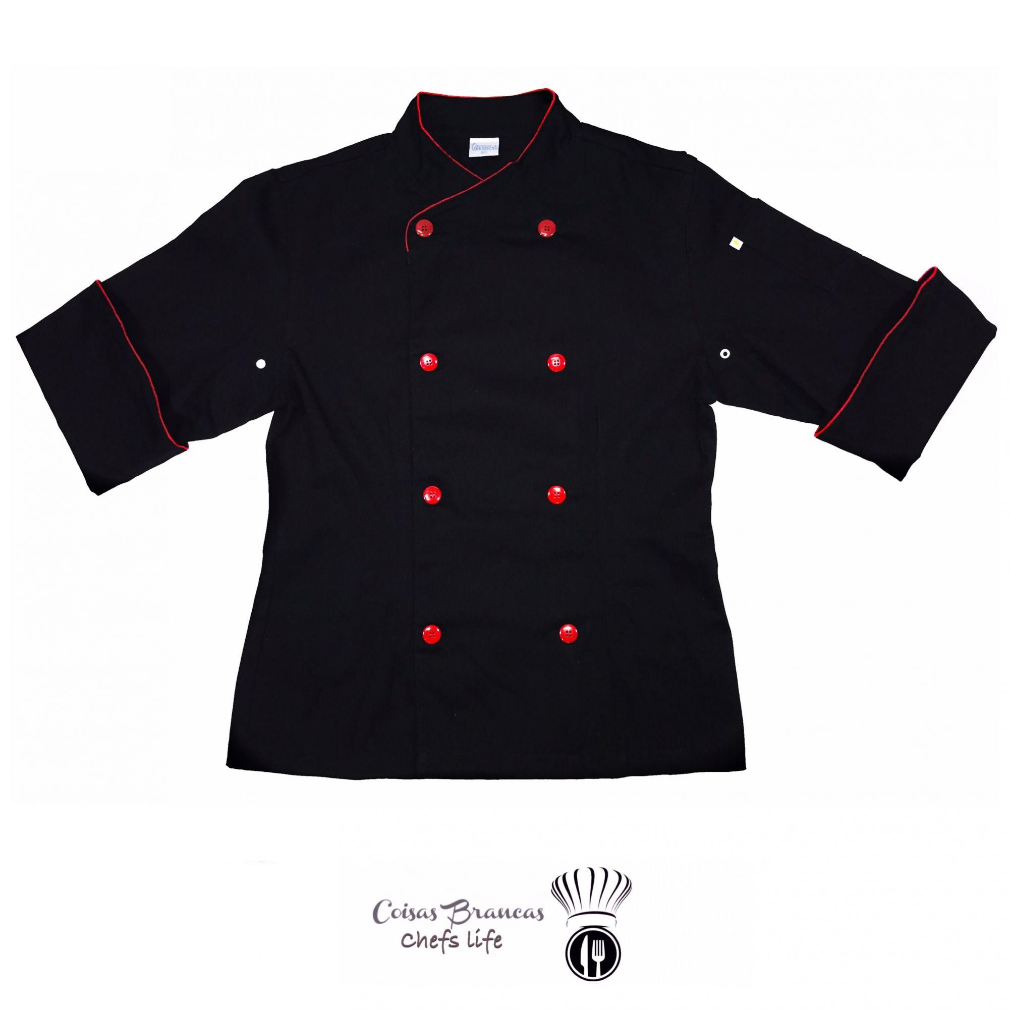 Dólmã Cecilia Feminino Acinturado RED BEATER PRETO com vivo e botões VERMELHOS 100% algodão manga 3/4