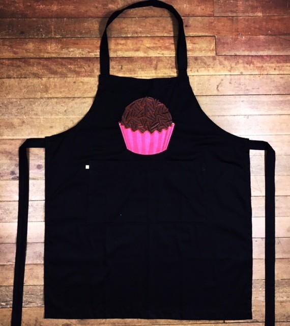 KIT: Dólmã Clássico Unissex BRANCO BRIGADEIRO PINK com vivo e botões ROSA 100% algodão manga 3/4 + AVENTAL PRETO BRIGADEIRO PINK SHINE