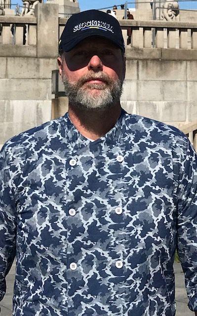 Dólmã GOURMET UNISSEX SKULL CHEF CINZA Camuflado Jeans Jacquard Botões CINZA 100% Algodão Manga 3/4