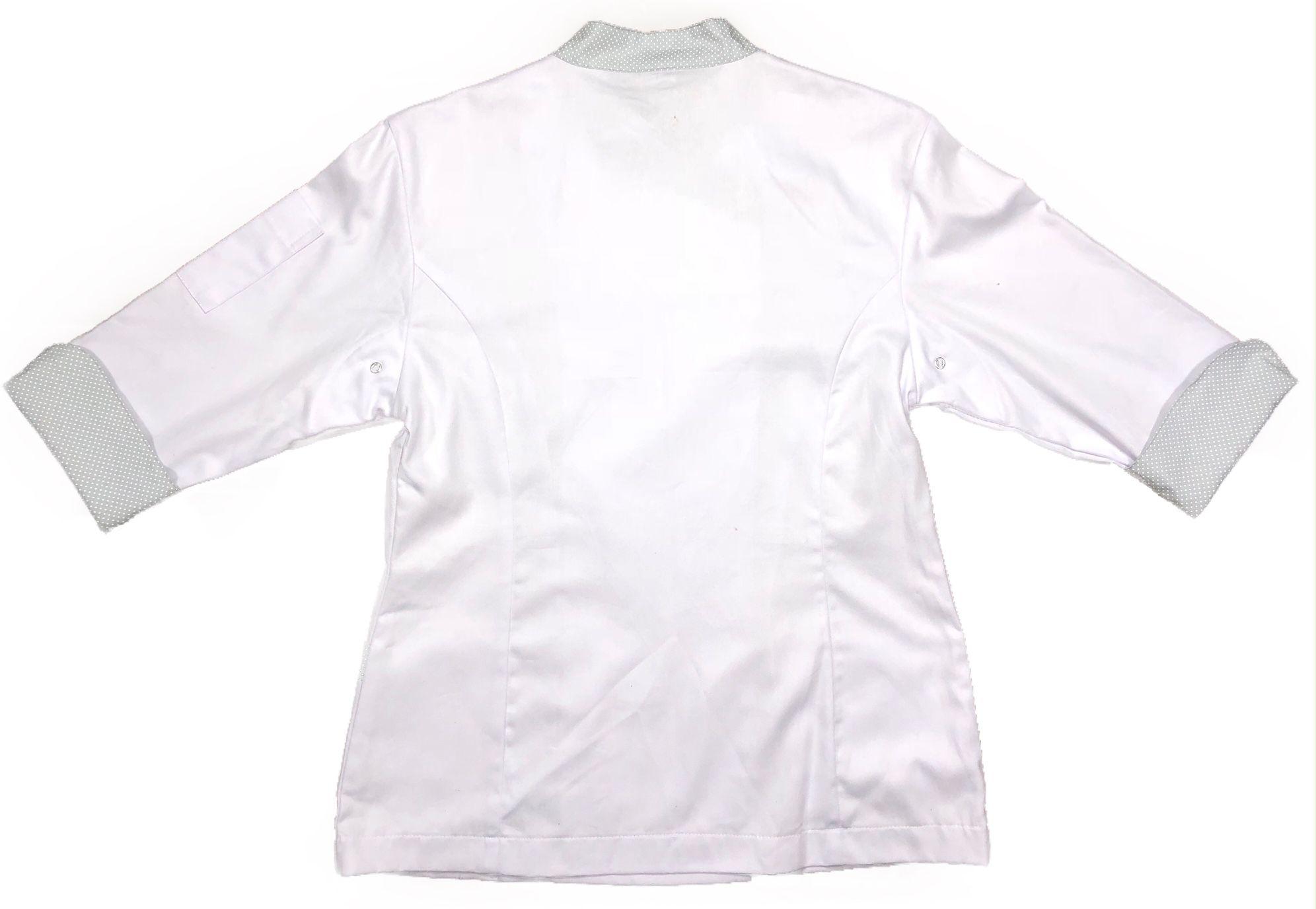 Dólmã Mary Feminina Acinturado BRANCA com detalhe Poá CINZA CLARO Sarja Leve 100% algodão com botões ROSA CLARO