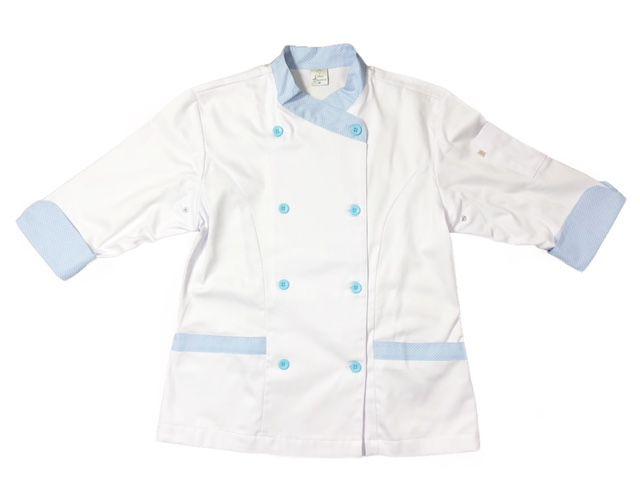 Dólmã Mary Feminina Acinturado BRANCA com detalhe Poá Azul Sarja Leve 100% algodão com botões Azul