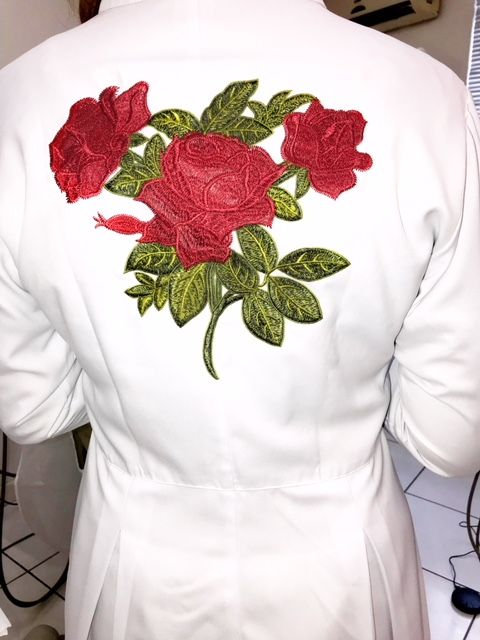 Jaleco Sissi Dress RED FLOWER Feminino Acinturado  ML Microfibra