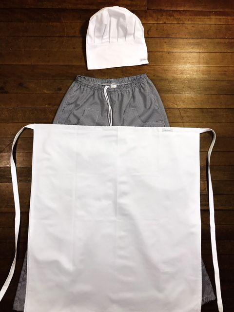 KIT: Avental 4 Frentes 100% algodão BRANCO COM OU SEM nome e logomarca (somente de universidade) bordada + Calça com elástico total pied poule + Chapéu Chef 100%algodão