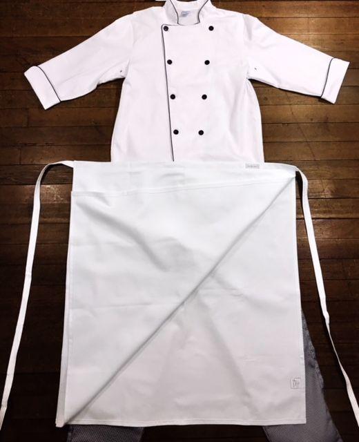 KIT: Dólmã 100% algodão BRANCA COM OU SEM nome e logomarca (somente de universidade) bordada + Avental 4 Frentes branco 100% Algodão + Calça com elástico total pied poule