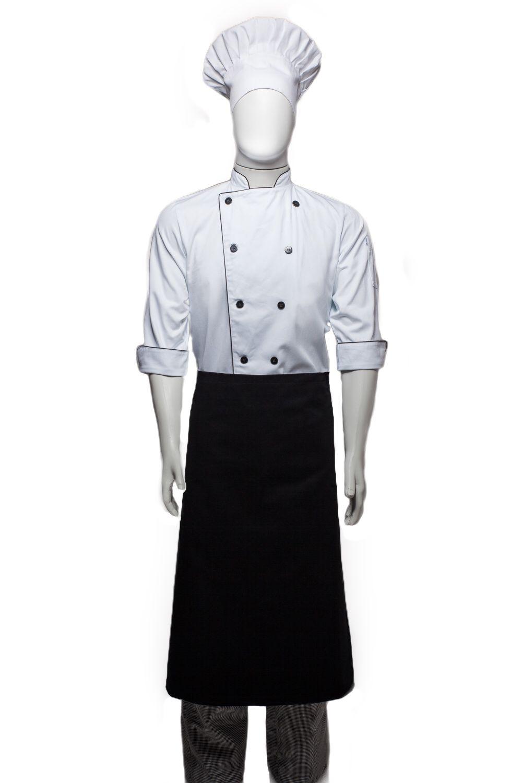 Conjunto Dólmã Classica 100% algodão branca  + avental 4 Frentes PRETO 100%algodão + Calça com elástico total pied poule + chapéu gourmet 100%a