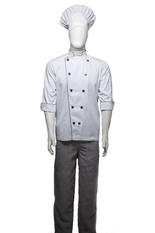 KIT: Dólmã Clássico Unissex Branco Botões Vivo Preto 100% Algodão Manga 3/4 + Calça Pied Poule Xadrez + Chapéu Chef com Velcro