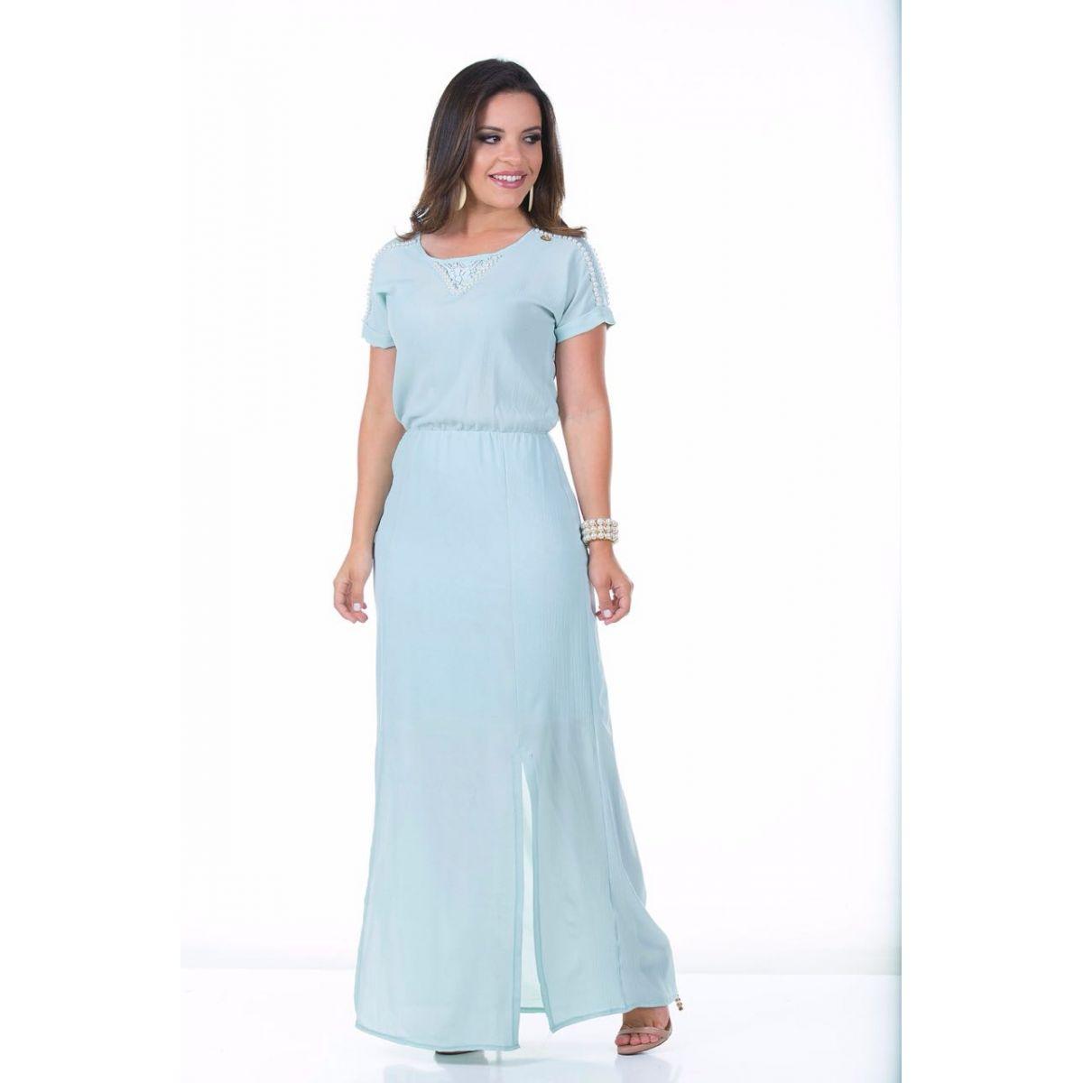 Vestido abertura longo azul Ella´s 1474