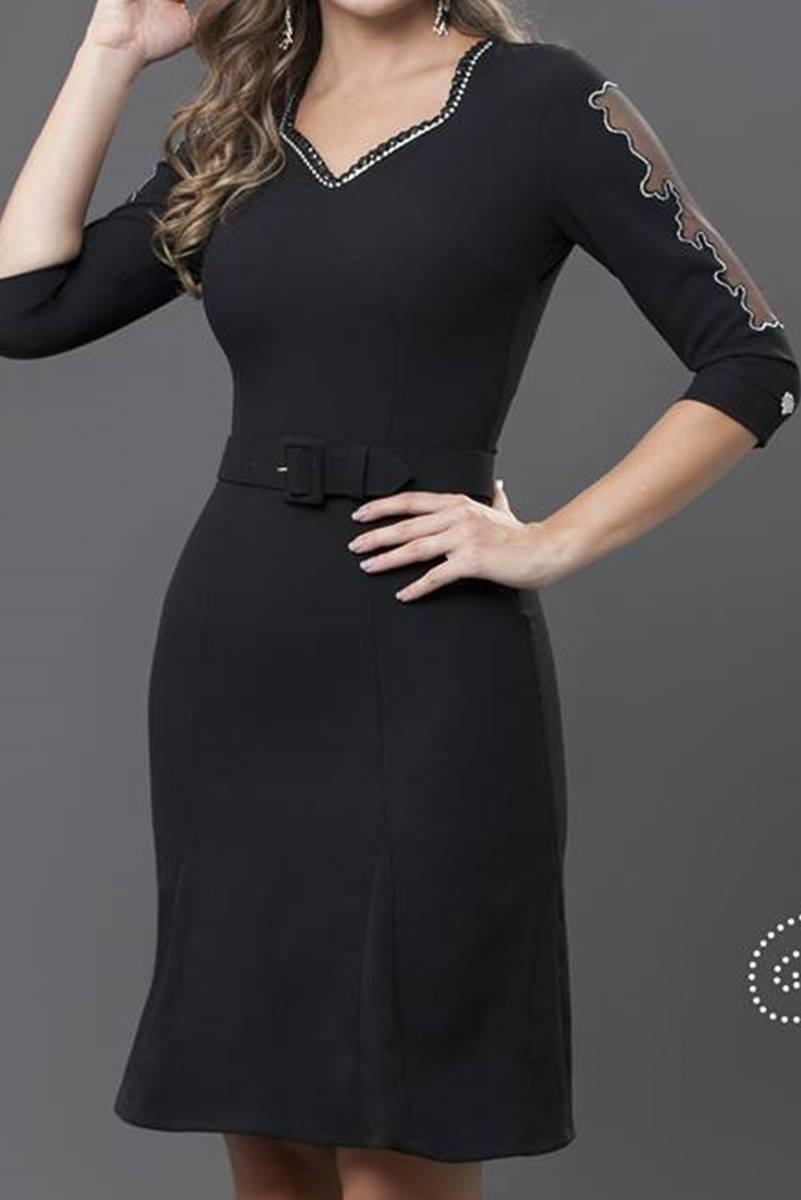 Vestido Bella Herança Preto 6502