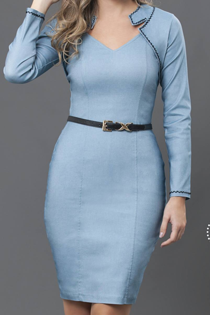 Vestido Bella Herança Azul Claro 6528