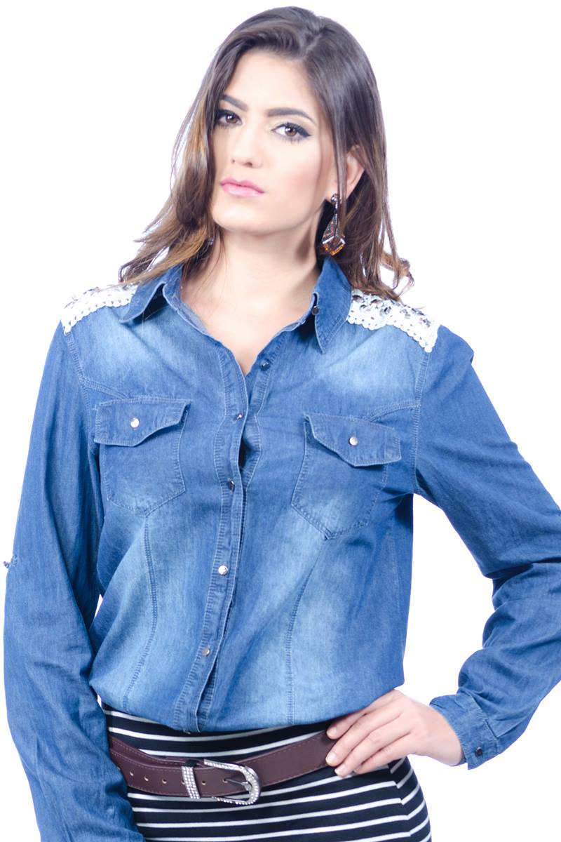 Camisa Jeans Escuro Holin Stone 29675