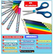 Etiquetas Adesivas para Lápis, Canetas, Escovas e Utensílios - Kit MENINOS 66 Unid.