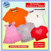 Kit Transfer 1 - 30 Adesivos para roupas