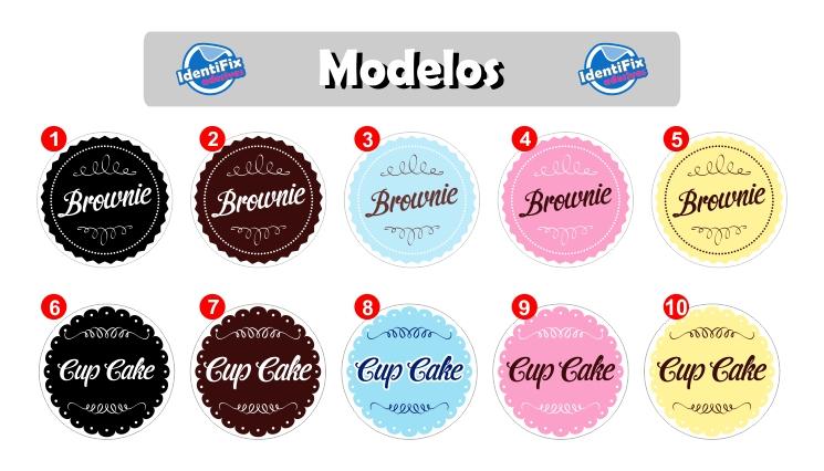 Kit 50 Etiquetas Redondas para Cupcakes e Brownies - 5cm  - Identifix Adesivos Personalizados