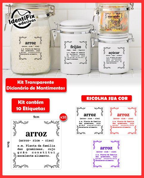 Kit Dicionário de Mantimentos - Transparente   - Identifix Adesivos Personalizados