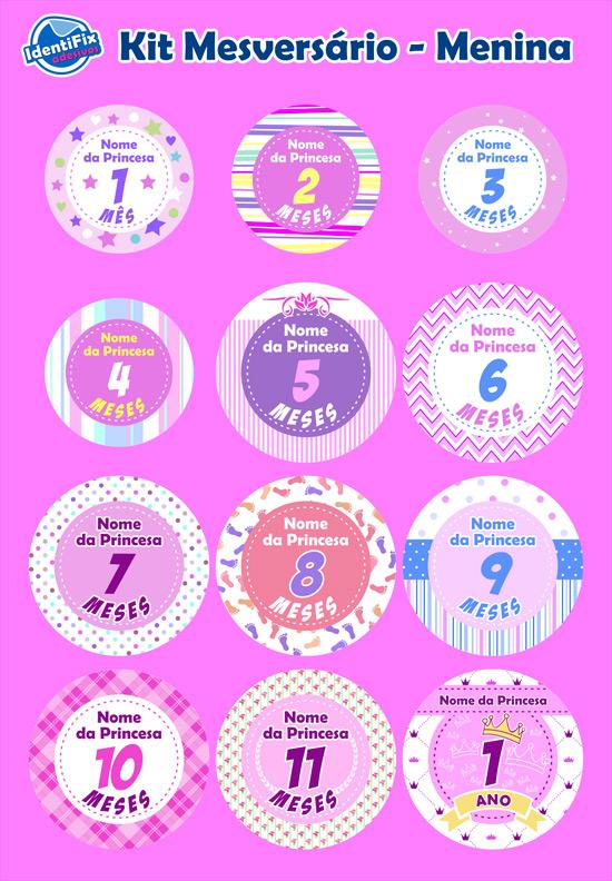 Kit Mesversário Meninas - com nome  - Identifix Adesivos Personalizados