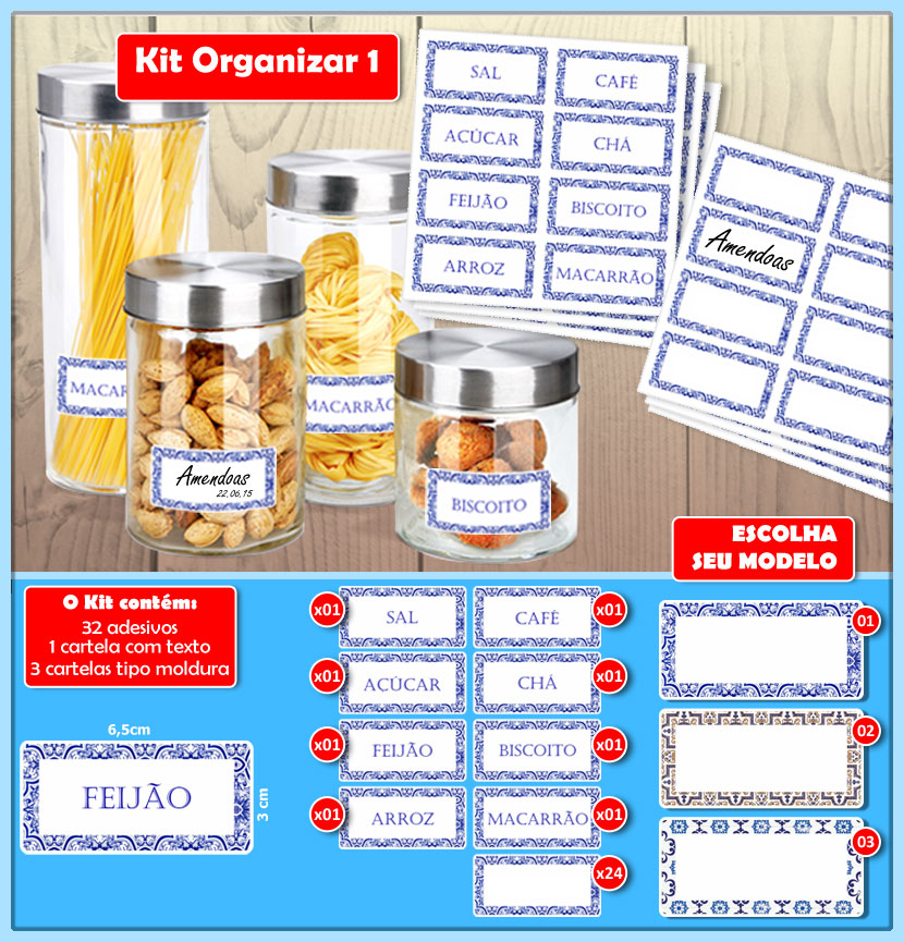 Kit Organizar 01  - Identifix Adesivos Personalizados