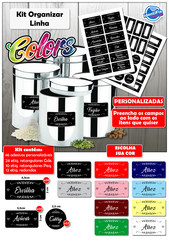 Kit Organizar Colors  - Identifix Adesivos Personalizados