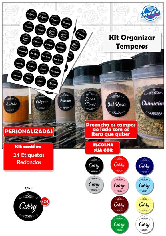 Kit Organizar Temperos - Colors  - Identifix Adesivos Personalizados