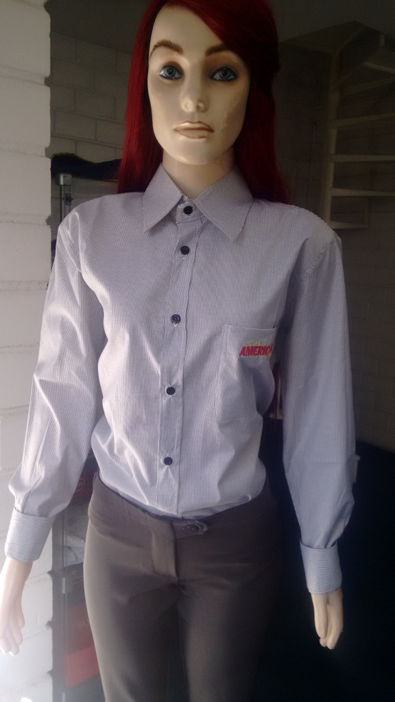 1e8be9d291 Camisa Social Feminina Manga Longa - Drogaria Americana