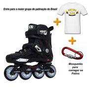 Patins Traxart Dynamix + Camiseta Patins Club Brasil + Mosquetão