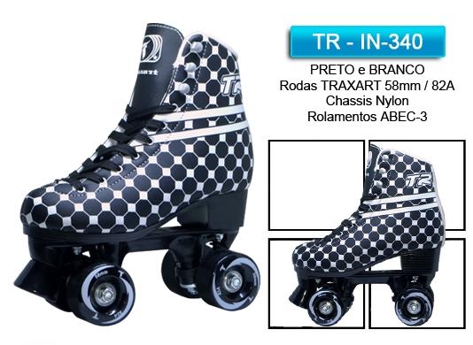 PATINS TRADICIONAL TR  PRETO e BRANCO  - Rock Shop Skate Megastore
