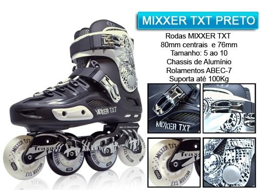 Patins Traxart Mixxer TXT Preto e Branco  - Rock Shop Skate Megastore