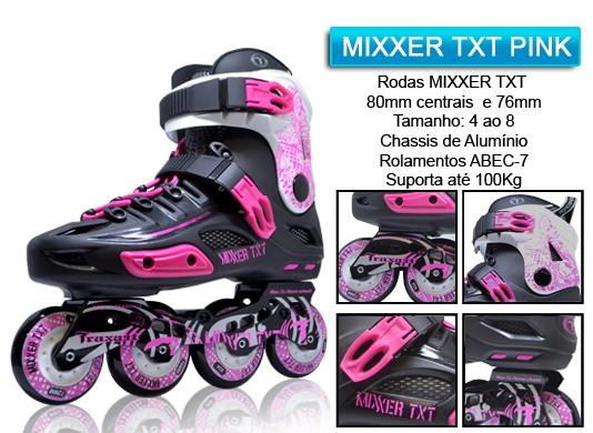 Patins Traxart Mixxer TXT Preto e Pink  - Rock Shop Skate Megastore