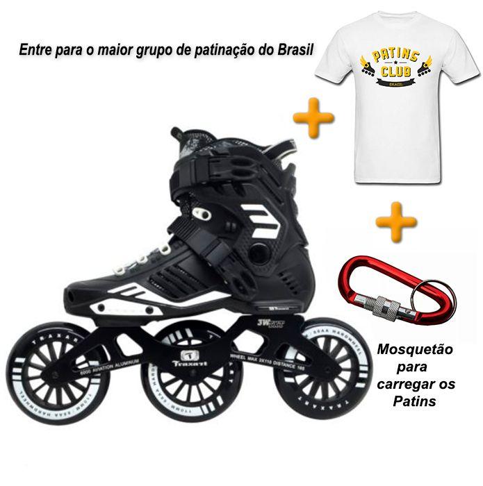 PATINS 3W TRAXART + CAMISETA OFICIAL PATINS CLUB BRASIL + MOSQUETÃO  - Rock Shop Skate Megastore
