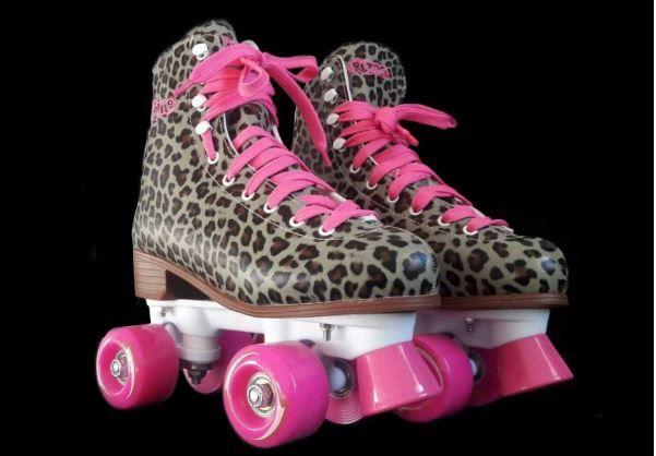 Patins Tradicional Quad Creme Leopard  - Rock Shop Skate Megastore