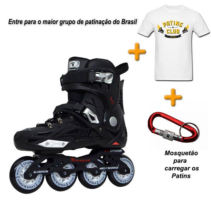 Patins Traxart Dynamix + Camiseta Patins Club Brasil + Mosquetão  - Rock Shop Skate Megastore