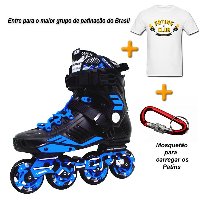 PATINS TRAXART EXPERT + CAMISETA OFICIAL PATINS CLUB + MOSQUETÃO  - Rock Shop Skate Megastore