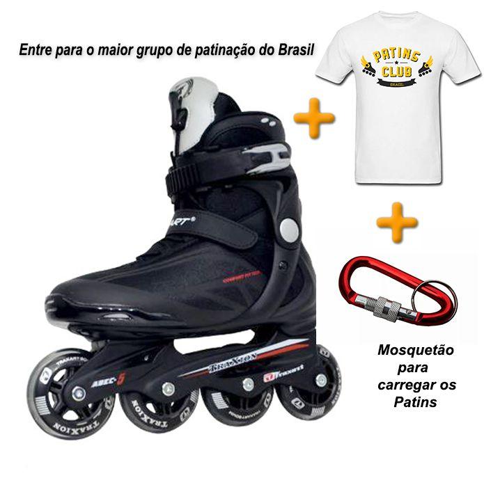 Patins Traxart Traxion + Camiseta Patins Club Brasil + Mosquetão  - Rock Shop Skate Megastore