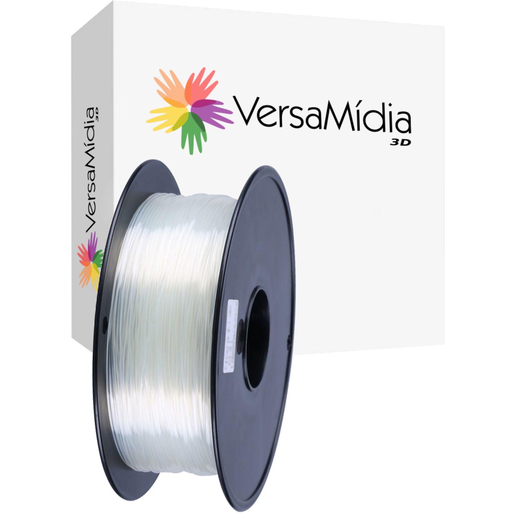 Filamento PETG Aditivado Policarbonato ( P-GLASS) Alta Transparência  1.75mm 0.8Kg  VersaMídia 3D - cód..11516