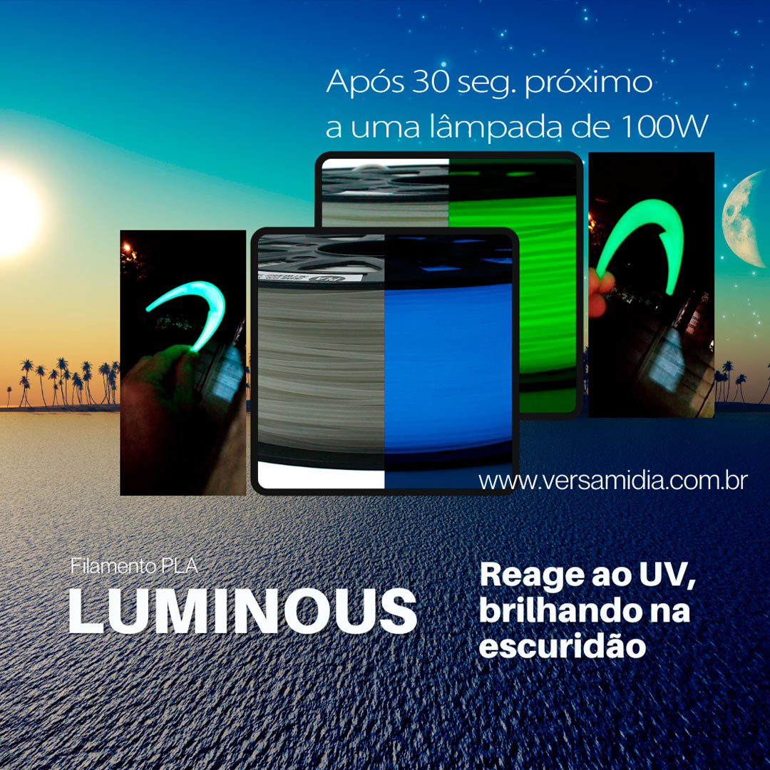 Filamento ST-PLA  ( UV ) Brilho No Escuro 1.75 1Kg