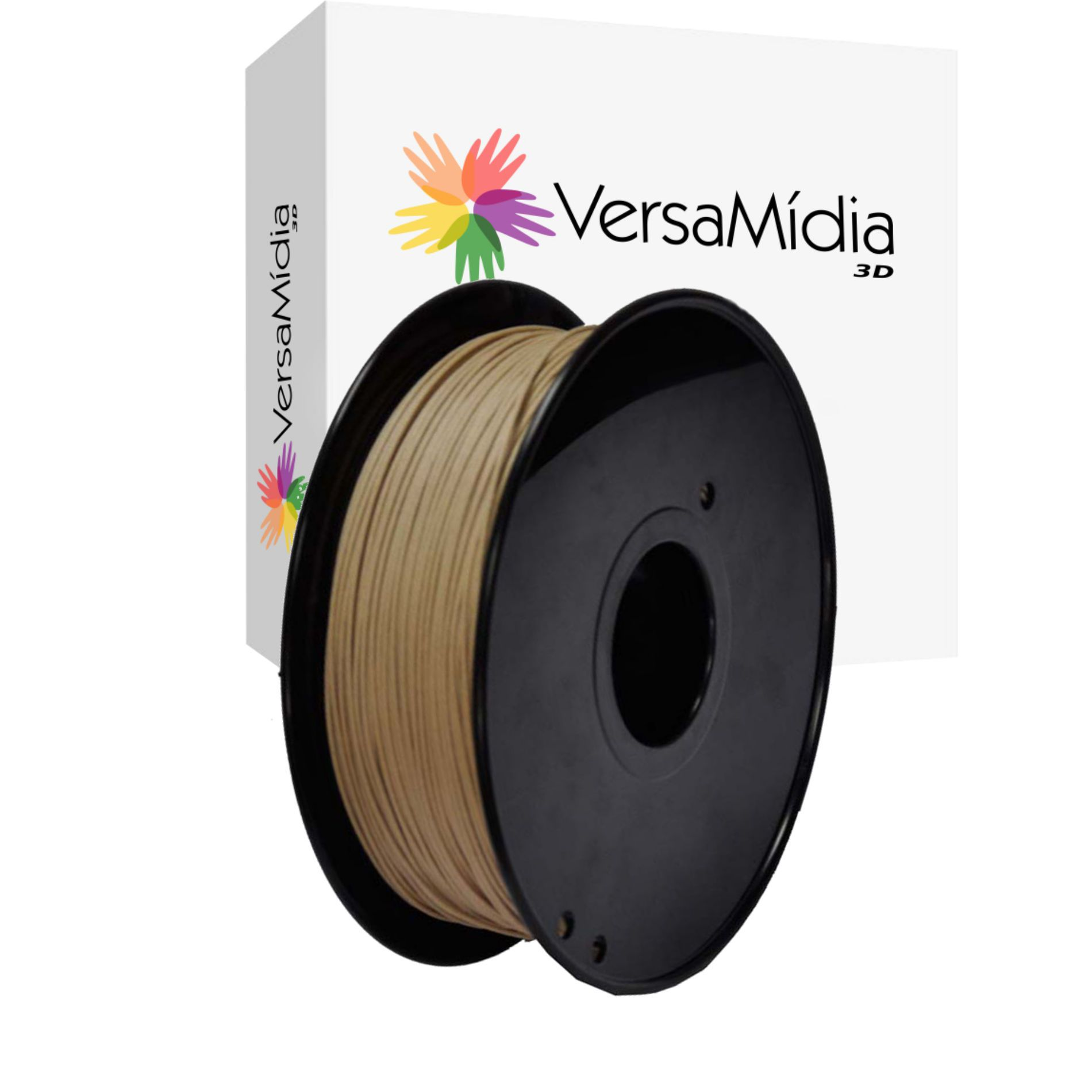 Filamento PLA cor Wood Natural Madeira  VersaMídia 3D Premium  1.75mm Black Spool  - 11520