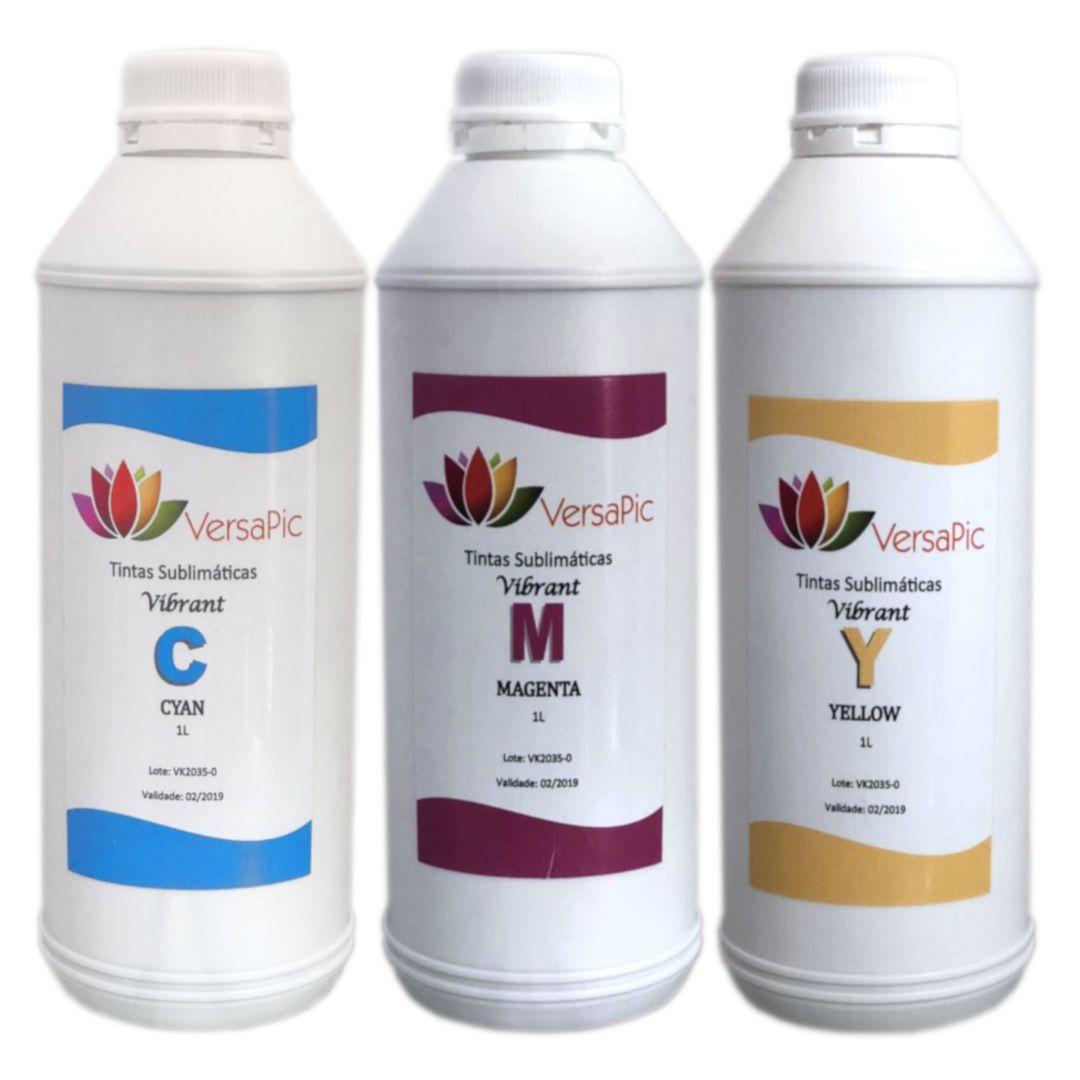 Kit Tintas Sublimáticas VersaPic Vibrant  CMY 3L