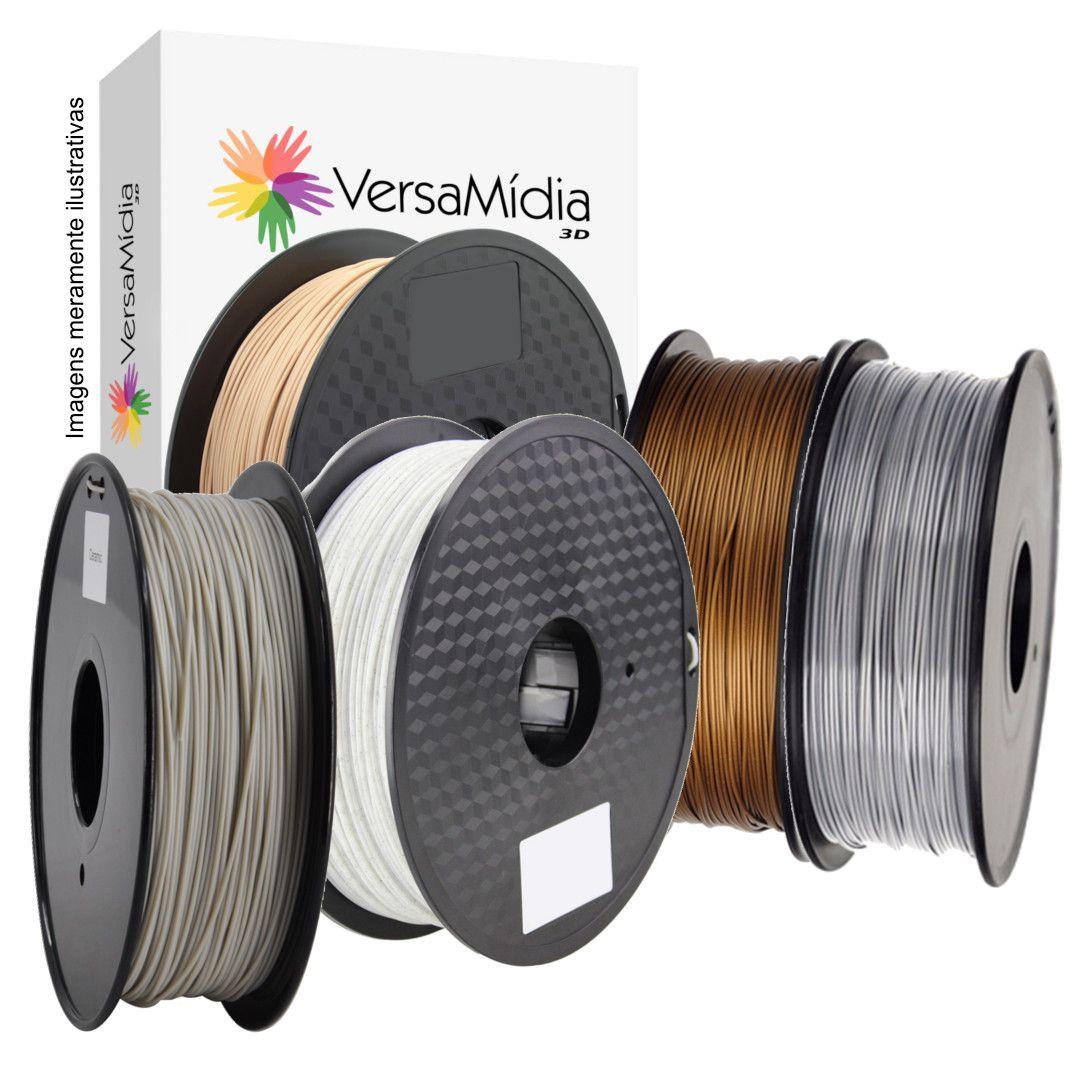Pack 10 PLA ADITIVADO Super Usuário VersaMídia 3D ( Madeira Bamboo, Ceramic, Mármore, Alumínio, Cobre )