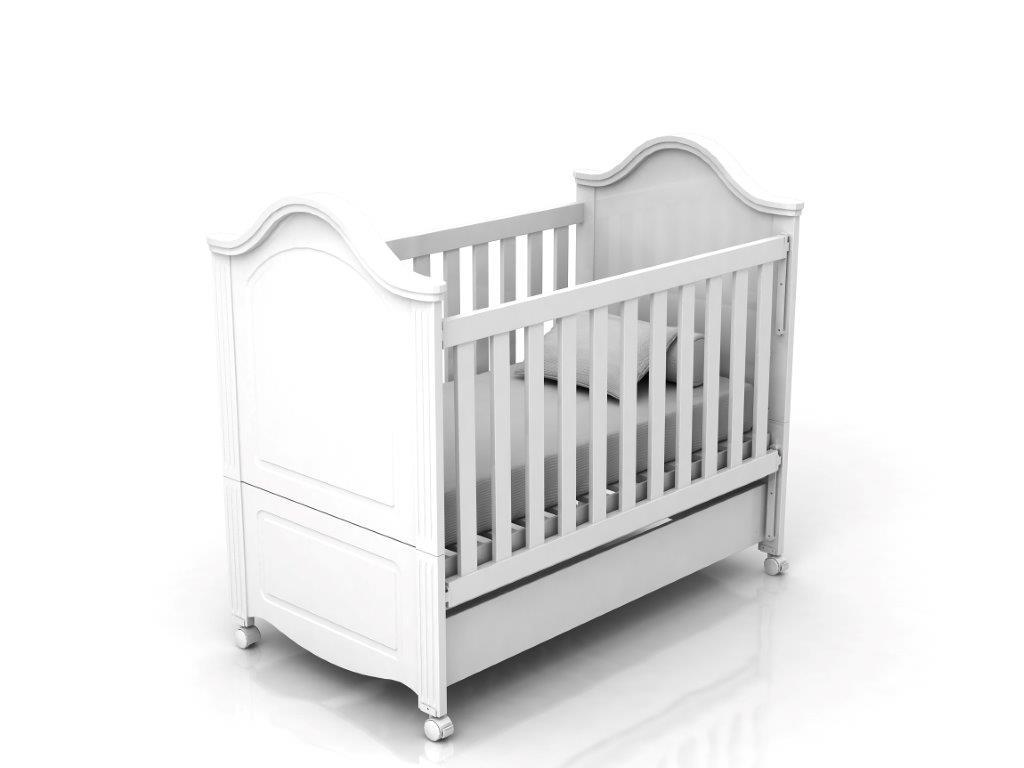 Linha Victoria Bebê - Berço-Cama -  Branco Fosco