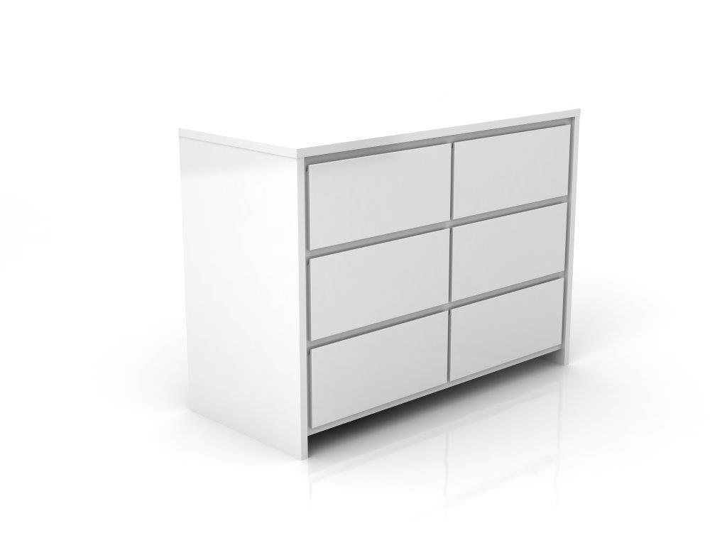 Linha Beabá - Cômoda 6 gavetas - Branco